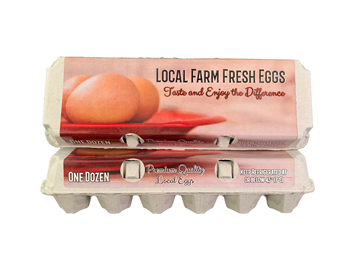 Labeled Generic Design Solid Top Egg Cartons - 100 units