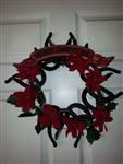 Christmas Horseshoe Red Poinsetta Wreath