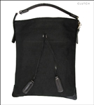 Clutch Bags Black Canvas Feed bag