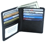 Leatherbay 50110 Genuine Leather Double Fold Black Wallet