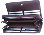 Leatherbay 50111 Genuine Leather Burgundy Zip Wallet