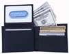 Leatherbay 50118 Genuine Leather Double Fold Black Wallet