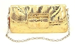 Melie Bianco Python Fold Over Clutch S8-13 Gold