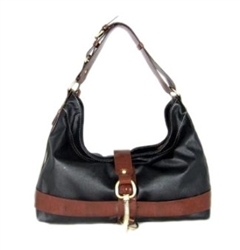 Melie Bianco W8-240 Black Belted Hobo Bag With Clasp