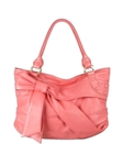 Melie Bianco Bow Satchel With Covered Studs Coral