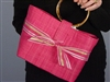 Top It Off Accessories Maddi Fuschia Tote Multi-stripe bow
