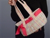 Top It Off Accessories Haley Bag Multi Color Gingham With Pink Picot Ribbon