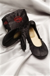 The Cherry Brand Fold Up Ballet Flats Black Large