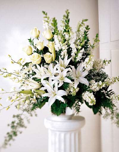 All White Standing Urn