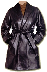 lamb leather wrap coat