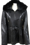 new zealand lamb belted parka with fur trim