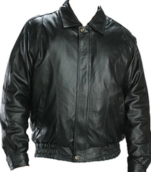 leather bomber jacket with zip-out lining