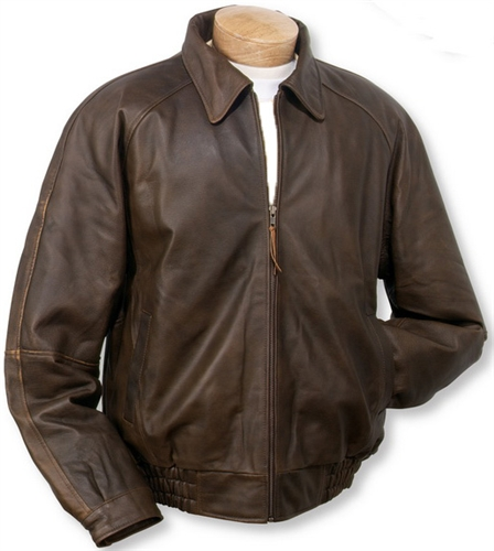 Distressed Brown Leather Bomber Jacket - (Style MB635)