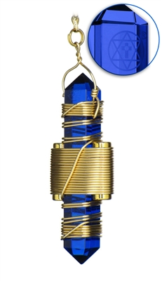 "Buddha Maitreya the Christ 2.5"" Blue Siberian Quartz Etheric Weaver in Gold"
