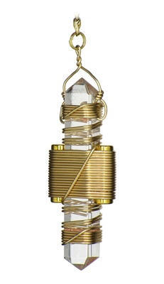 "Buddha Maitreya the Christ 2.5"" Clear Quartz Etheric Weaver in Gold"