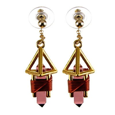 "Buddha Maitreya the Christ 7/8"" 24k Goldplated Deva Vajra Weaver Earrings"