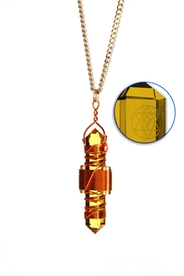 Buddha Maitreya the Christ Gold Siberian Quartz Etheric Weaver Pendant in Copper