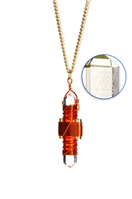 Buddha Maitreya the Christ Orange Gel Etheric Weaver Pendant in Copper