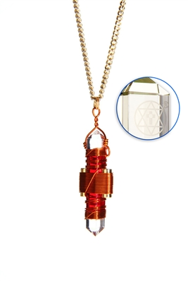 Buddha Maitreya the Christ Red Gel Etheric Weaver Pendant in Copper