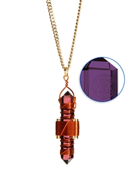 Buddha Maitreya the Christ Violet Siberian Quartz Etheric Weaver Pendant in Copper