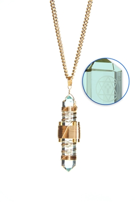 Buddha Maitreya the Christ Aqua Siberian Quartz Etheric Weaver Pendant in Gold