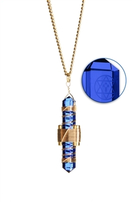 Buddha Maitreya the Christ Blue Siberian Quartz Etheric Weaver Pendant in Gold
