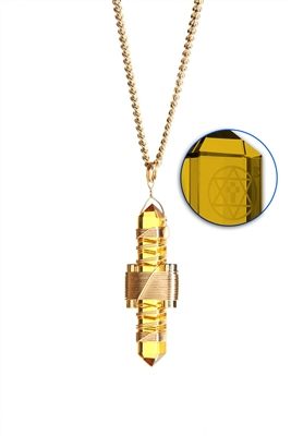 Buddha Maitreya the Christ Gold Siberian Quartz Etheric Weaver Pendant in Gold