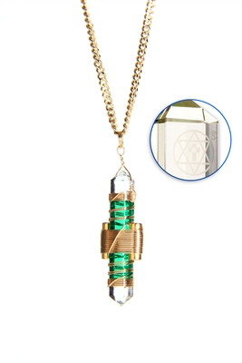 Buddha Maitreya the Christ Green Gel Etheric Weaver Pendant in Gold