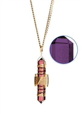 Buddha Maitreya the Christ Violet Siberian Quartz Etheric Weaver Pendant in Gold