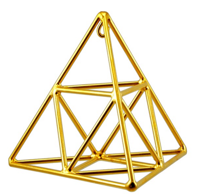 Buddha Maitreya the Christ - Small 24K Goldplated Tetrahedron with Octahedron