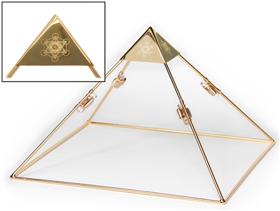 "9 Inch 24k Gold-plated Meditation Pyramid with 2"" Capstone and 4 Clear Quartz Etheric Weavers"