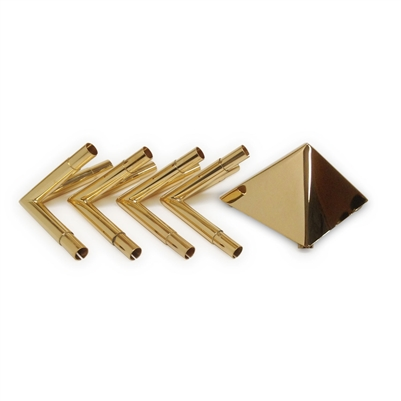 "24k Gold Plated Copper Meditation Pyramid Connectors with 4"" Capstone"