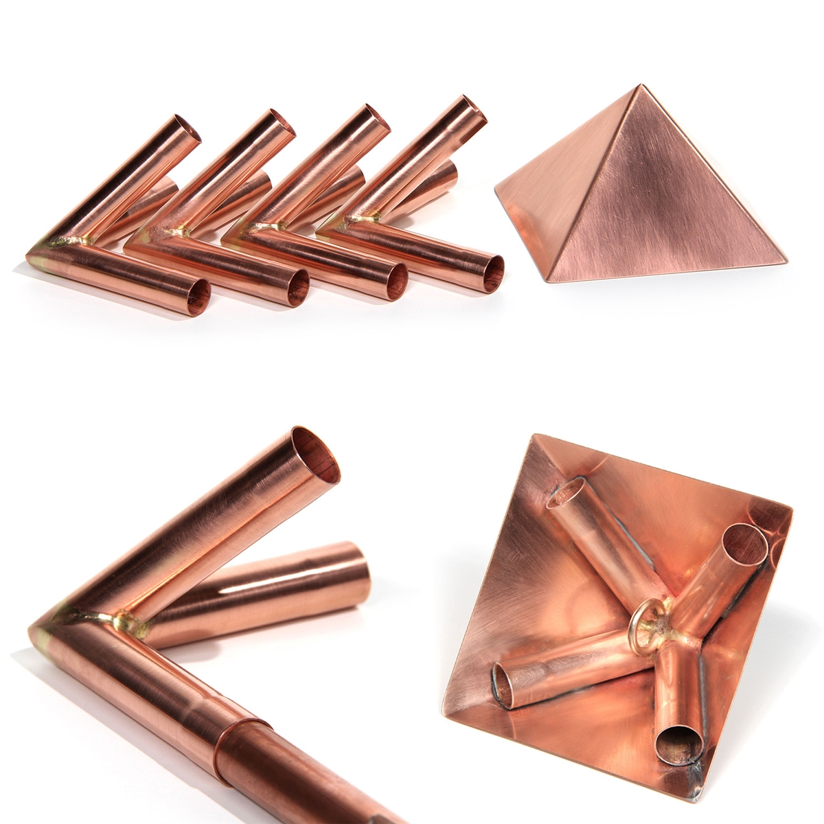 Polished Copper Meditation Pyramid Connector Kit with 4
