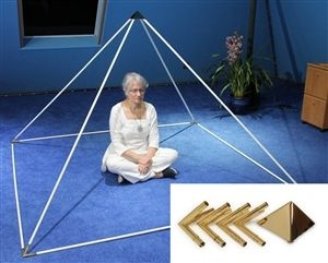 7' Gold Plated Copper 51 Degree Meditation Pyramid for Healing