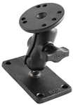 2.5 Inch Diameter Base with SHORT Sized Length Arm and Rectangular 2 Inch x 4 Inch Mounting Plate (RAM-B-202U-24)