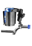 "Handlebar Base with ZINC U-Bolt (Fits .5"" to 1.25"" Rail Dia.) and Standard Sized Length Arm with Self Leveling Cup Holder (Fits Bottles 2.5"" to 3.5"" dia.)"