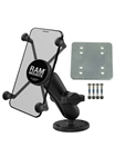 "Round Plate with Standard Sized Length Arm & RAM-HOL-UN7BU Universal X Grip Spring Loaded Holder (Fits Device Width 1.875"" to 3.25"")"