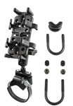 "ATV/UTV Strap or U-Bolt Base (U-Bolt Fits .5 to 1.25"" Dia., Strap Base Fits 1.57 to 3.15"" Dia.), Standard Arm & RAM-HOL-UN4U Univ. Finger Gripping Cradle (Fits Device Width 1.25"" to 3.5"" Including GPS, eTrex, 2 Way Radios, Smartphones with Cover/Case)"