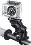 Handlebar Mount with Zinc U-Bolt (Fits .5 to 1.25 Dia.), SHORT Sized Length Arm & RAP-B-202U-GOP1 GoPro Adapter Plate