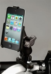 Handlebar Mount with Zinc U-Bolt (Fits .5 to 1.25 Dia.), Standard Sized Length Arm and Apple RAM-HOL-AP10U Holder (iPod Touch 4th Gen WITHOUT Case or Cover)