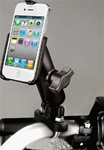 Handlebar Mount with Zinc U-Bolt (Fits .5 to 1.25 Dia.), Standard Sized Length Arm and RAM-HOL-AP9U Apple iPhone 4 Holder (4th Gen/4S WITHOUT Case or Cover)