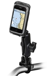 Handlebar Mount with Zinc U-Bolt (Fits .5 to 1.25 Dia.), Standard Sized Length Arm & SMALL RAM-HOL-AQ7-1CU Aqua Box Pro 10 Waterproof Smartphone Holder
