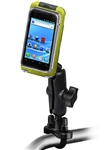 Handlebar Mount with Zinc U-Bolt (Fits .5 to 1.25 Dia.), Standard Sized Length Arm & LARGE RAM-HOL-AQ7-2CU Aqua Box Pro 20 Waterproof Smartphone Holder