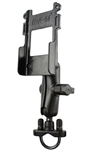Handlebar Mount with Zinc U-Bolt (Fits .5 to 1.25 Dia.), Standard Sized Length Arm & RAM-HOL-BC1U Holder for Hand Held Devices and 2 Way Radios