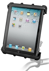 "Handlebar Mount with Zinc U-Bolt (Fits .5 to 1.25 Dia.), Standard Sized Length Arm and RAM-HOL-TAB8U Universal Cradle for 10"" Screen Tablets WITH or WITHOUT Large Heavy Duty Case/Cover/Skin Including: Apple iPads"