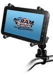 "Handlebar Mount with Zinc U-Bolt (Fits .5 to 1.25 Dia.), Std. Sized Length Arm and RAM-HOL-UN8BU SMALL Universal Tablet Holder fits MOST 7-8"" Screens Tablets (Fits Device Width 2.5"" to 5.75"")"