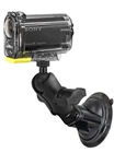 "Single 3.25"" Dia. Suction Cup Base with Twist Lock, SHORT Length Sized Length Arm and RAP-B-379U-252025 Video Camera Adapter (Common Use Sony Action Cam)"