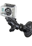 "Single 3.25"" Dia. Suction Cup Base with Twist Lock, Aluminum SHORT Length Sized Arm with RAP-B-202U-GOP1 Go Pro Adapter"