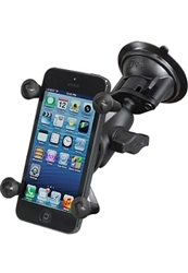 "Single 3.25"" Dia. Suction Cup Base with Twist Lock, Aluminum SHORT Length Sized Arm and RAM-HOL-UN7BU  Universal X Grip Spring Loaded Holder (Fits Device Width 1.875"" to 3.25"")"