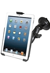 "Single 3.25"" Dia. Suction Cup Base with Twist Lock, Aluminum Standard Length Sized Arm and RAM-HOL-AP14U Holder for Apple iPad Mini 1st Gen & iPad Mini 3 WITHOUT Case or Cover"